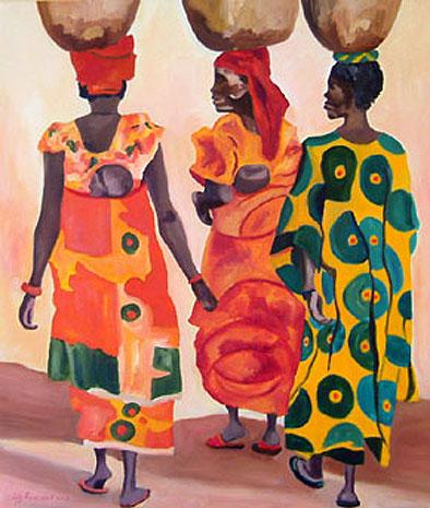 Bedwelming Afrikaanse sferen geschilderd door Lily Ruizendaal - Lily-Art #WI61